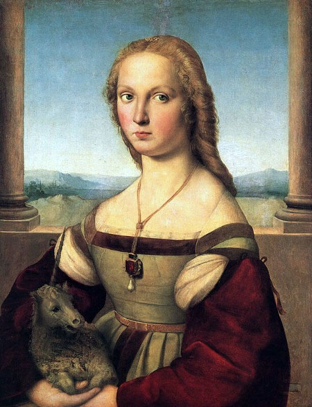 Lady with unicorn (Giulia Farnese), Raphael