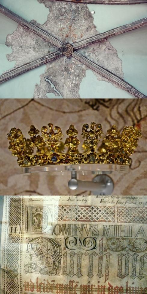 Fragment polichromii w Muzeum Archritektury; korona ze Skarbu średzkiego (XIV); manuskrypt stworzony stopą (XVI)