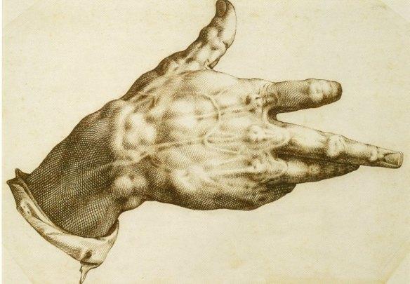 5. Czyja dłoń została przedstawiona na ilustracji? Jak nazywamy rysunki, których intencją jest imitowanie ryciny?