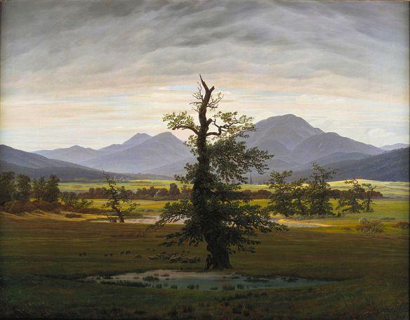 """Caspar David Friedrich """"Pejzaż wiejski w świetle poranka"""" 1822r. Stara Galeria Narodowa w Berlinie."""
