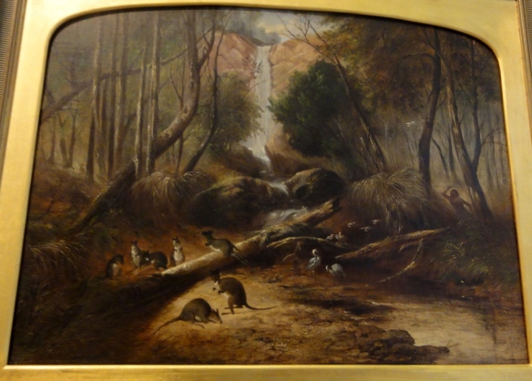 "John Skinner Prout ""Bush landscape with waterfall and an aborigine stalking native animals"" 1860 r. Art Gallery of New South Wales Sydney."