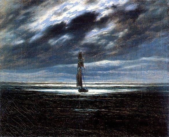 "Caspar David Friedrich ""Morze w świetle księżyca"" 1830 r.  Museum der Bildenden Kunste Lipsk."