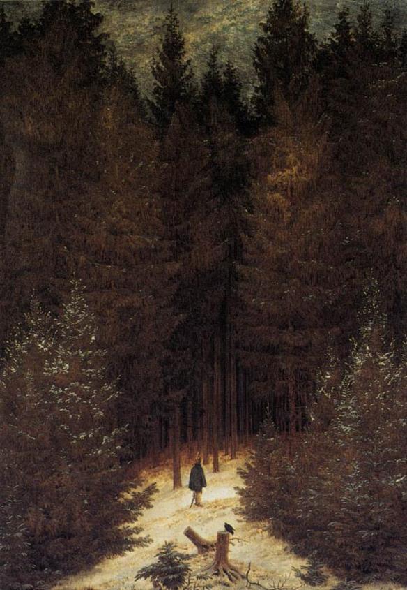 """Caspar David Friedrich """"Strzelec w lesie"""" 1812 r.  Kolekcja prywatna Bielefield."""