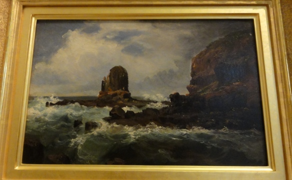 "Nicholas Chevalier ""Pulpit Rock, Cape Schanck, Victoria"" 1860 r. Art Gallery of New South Wales."