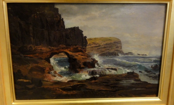 "Nicholas Chevalier ""Tunnel Rock, Cape Schanck, Victoria"" 1862 r. Art Gallery of New South Wales Sydney."